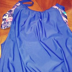 Tankini top size large. Flamingos. Strappy back